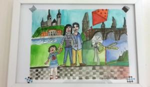 Family portrait in Prague setting